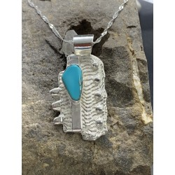 Cuttlebone Cast Sterling Pendant with Turquoise