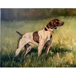 Bird Dog Oil Painting